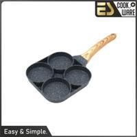 ES Panci penggorengan telur 4 lubang wajan keramik tidak mudah lengket