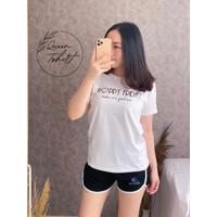 Baju Wanita Lengan Pendek HAPPY FRIDAY | Kaos Fashion Wanita | Kaos - Putih