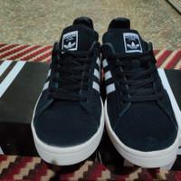 Sepatu ADIDAS CAMPUS shoes hitam strip putih - Hitam, 43