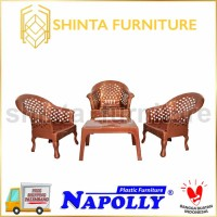Kursi Napolly Sofa Tiger + Meja Tamu Plastik 4 Kursi Teras