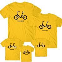 Kaos couple keluarga motif minion bike / kaos dist - ANAK, S