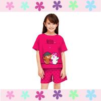 Setelan Pendek Anak Perempuan 4-15 Tahun/ Baju Kaos Rumah Anak Cewek