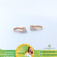 Anting/Giwang Emas Jepit Solitaire Zircon/Swarowski by Amero Rose Gold