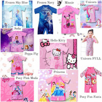 Baju renang anak perempuan girl girls karakter cantik bahan premium - Pony pink muda, XXL 28 sd 33kg