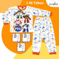 Baju Tidur | Piyama | Kaos Setelan Anak 2-10 Tahun ROBOCAR POLI