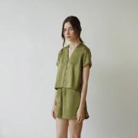Nou - Sundae Set 02 Loungewear in Satin Silk (Top with Sleeves & Short