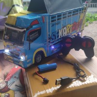 miniatur truk RC (remot control)+batre cas+charger+free terpal - Biru