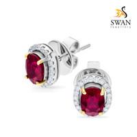 Anting Berlian Batu Ruby IMER837521 Swan Jewellery