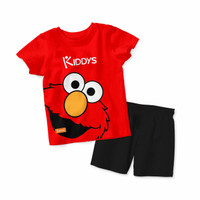 Baju Setelan Kaos Anak Kiddys Motif Sablon Elmo Warna Merah [KDS26] - 6-12 Bulan, Celana aja