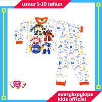 Kaos Setelan Piyama Baju Tidur Anak Laki Laki 1 -10 Tahun Robocar Poli