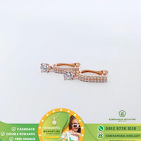 Anting/Giwang Jepit Emas List Dangle Solitaire By Amero Rose Gold