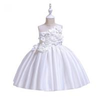 DRESS PESTA ANAK SATIN BUNGA DRESS ULANG TAHUN ANAK SATIN PARTY DRESS - Putih, 110