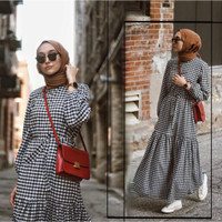 Baju Terusan Gamis Long Maxi Dress Dres Fashion Wanita Muslim Kekinian