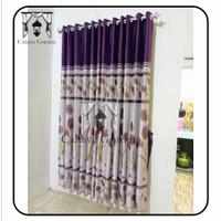 gorden blackout bahan import motip bunga Tulip warna ungu - Ungu