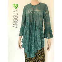 Baju Tunik Brokat Premium Import Hijau Baru Renda