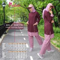 setelan baju olahraga wanita stelan baju olahraga muslimah BMS 27 ORI - maroon, S