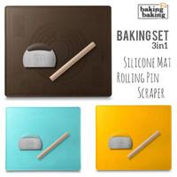 Baking Tools Set 3Pc/ Baking Mat Set Rolling Pin Scraper/Silmat Silpat - Kuning