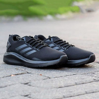Sepatu Sport olahraga Adidas full black running joging bertali ori