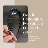 Bando Sirkam Korea Hairband Rambut Headscarf Plastik - HitamGigiPnjang