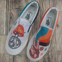 Sepatu Sneakers Vans Slip On Peace White Orange Blue Unisex