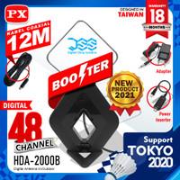 Antena TV Digital Analog Booster Indoor Outdoor + 12Meter PX HDA-2000B