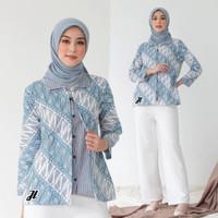 Baju Batik Blouse Bolero Wanita Kombinasi Motif Kawung Monokrom Modern