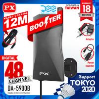 Antena Tv Digital +Kabel 12 meter & Booster Indoor Outdoor PX DA 5900B - Hitam