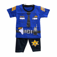 Setelan Baju Anak Bayi Laki Laki Motif Polisi 0-12 Bulan (Maks 10 kg)