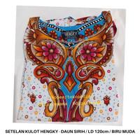 Setelan Kulot Setelan Piyama Batik Baju Tidur Batik Hengky Daun Sirih - Biru Muda