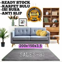 Karpet Bulu Rasfur 200x150x3,5 Anti Slip - Merah, Anti Slip