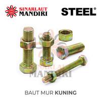 Baut Mur Kuning / BMK / Yellow Zinc Plated Bolt & Nut M 10 x 125