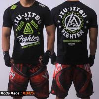 Kaos Jiujitsu Gracie Fighter, Baju Jujitsu, T shirt Jujutsu KB475