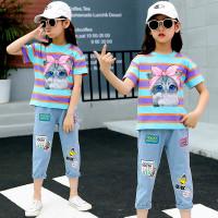 Baju Setelan Anak Perempuan Casual Cat Rainbow Set 2in1 (baju, celana) - Sz 110 (4-5T)