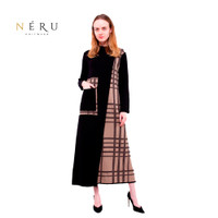 [PROMO] Gamis Wanita Rajut Stripe All Size - Hitam