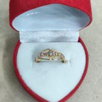 cincin mata 7 sebaris tengah putih 1 gram emas muda