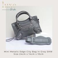 Balenciaga Mini Metallic Edge In Medium Grey / Griss Acier SHW