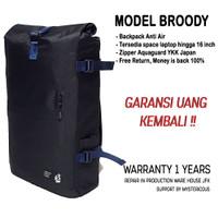 JFK Rolltop Tas Backpack Laptop Anti Air Broody - Warranty 1 years - Black-Silver
