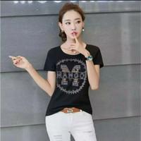 Gelmello Kaos wanita T-shirt kaos atasan cewek Tumbler Tee 142 - Hitam, M