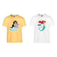 Baju Tumbr Anak dan Dewasa /Keluarga Princess Jasmine dan Mermaid - anak S,M,L