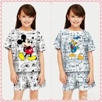 Baju Setelan Anak Perempuan motif Mickey Koran umur 5-12 Tahun