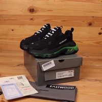 Sepatu Balenciaga Triple S Black Sole Green - BlackSoleOrange, 41