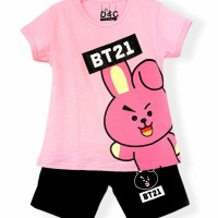 Setelan kaos baju anak perempuan size 1 2 3 4 5 6 7 8 9 10 tahun #7701 - bt21 pink, 3tahun