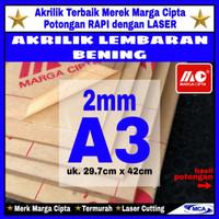 AKRILIK lembaran 2mm uk. A3 / Akrilik bening / Marga cipta / Arcylic