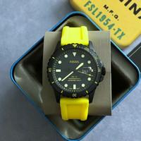 Jam Tangan Original Fossil FS 5684 FB-01 Neon Yellow Silicone Strap