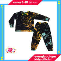 Kaos Setelan Piyama Baju Tidur Anak Laki Laki Umur 4-10 Tahun Tie Dye