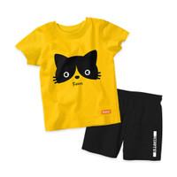 Baju Setelan Kaos Anak Kiddys Motif Sablon Kucing Warna Kuning [Kds37]