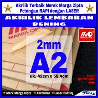 AKRILIK lembaran 2mm uk. A2 / Akrilik bening / Marga cipta / Arcylic