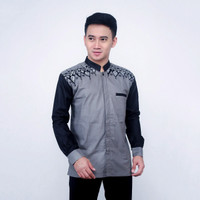 koko pria /kombinasi batik-bordil pundak/fashion pria - Abu-abu, M
