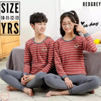 Baju Tidur Anak laki laki remaja - Piyama anak Remaja cewek - RedGrey
