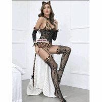 lingerie sexy piyama bajutidur bodystocking garter stocking leopard